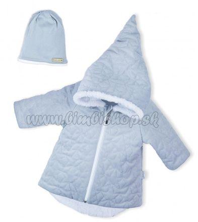 Luxusná prešívaná bundička, kabátik s čiapočkou Nicol Velvet Škriatok - sivá, veľ. 74