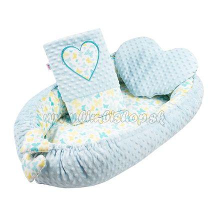 Luxusné hniezdočko s vankúšikom a perinkou New Baby Srdiečko modré modrá