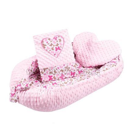 Luxusné hniezdočko s vankúšikom a perinkou New Baby Srdiečko ružové ružová