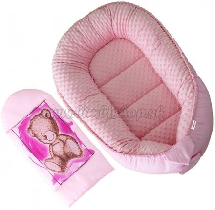 Obojstranné hniezdočko, kokon Baby Nellys Teddy Minky 80x45x15cm - ružové
