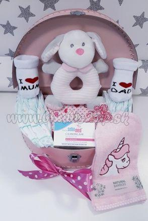 Skladom Plienková torta oblúk Baby Maxi plienkový kufrík ružová