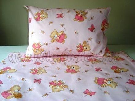 Detské obliečky 135x100 Macko/Motýľ ružová