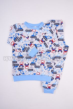 Skladom Detské pyžamo Bager modrá/červená