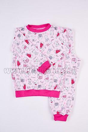 Skladom Detské pyžamo Psík a Mačička ružová/malinová
