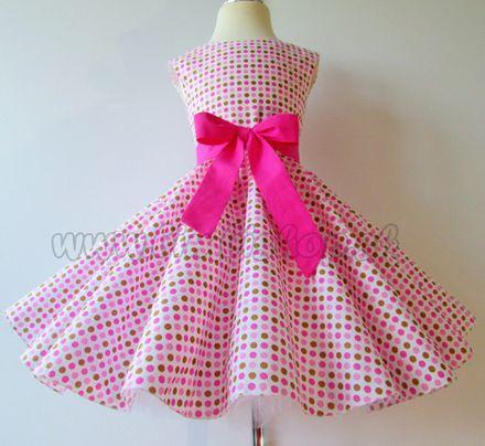 Skladom Detské RETRO šaty Bodky ružová/béžová 104-116