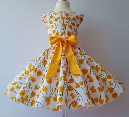 Skladom Detské RETRO šaty Tulipány žltá 104-116