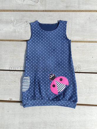 Skladom Detské šaty/tunika 2v1 Lea Lienka Jeans tm.modrá/ružová