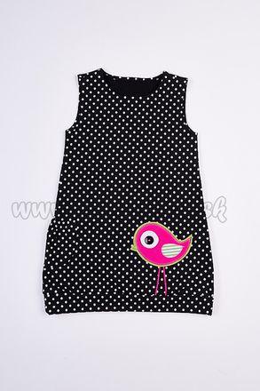 Skladom Detské šaty/tunika 2v1 Lea Vtáčik čierna/ružová
