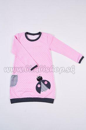 Skladom Detské šaty/tunika s dlhým rukávom Lienka bodka ružová/grafitová