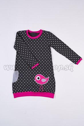 Skladom Detské šaty/tunika s dlhým rukávom Vtáčik tm.šedá/tm.ružová