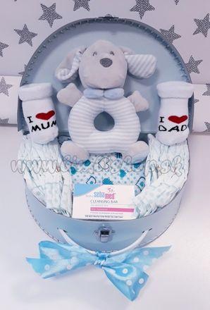 Skladom Plienková torta oblúk Baby Midi plienkový kufrík modrá