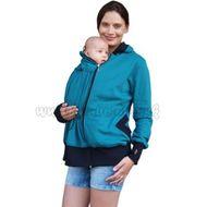 Tehotenská   nosiaci bavlnená mikina - petrolejová bd070b47380