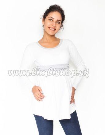 Tehotenská tunika s opaskom, dlhý rukáv Amina - biela /pásik sivý, veľ. S