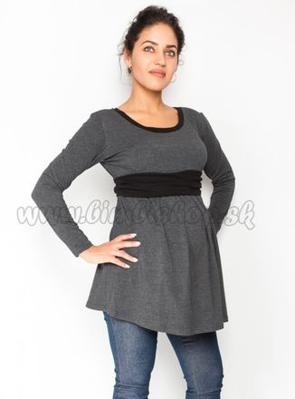 Tehotenská tunika s opaskom, dlhý rukáv Amina - grafit /pásik čierny, veľ. L