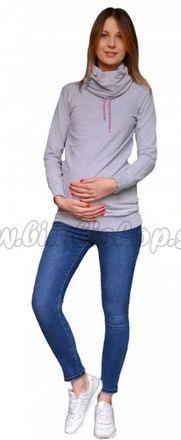 Tehotenské nohavice JEANS s pružným pásom Marika  - Modré