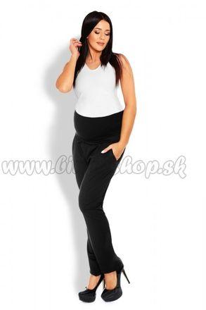 Tehotenské nohavice / tepláky s vysokým pásom -  čierne