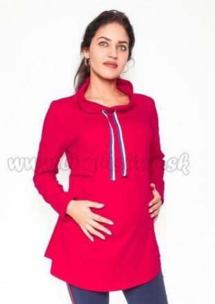 Tehotenské tričko / mikina so stojačikom Nova - červená, veľ. XL
