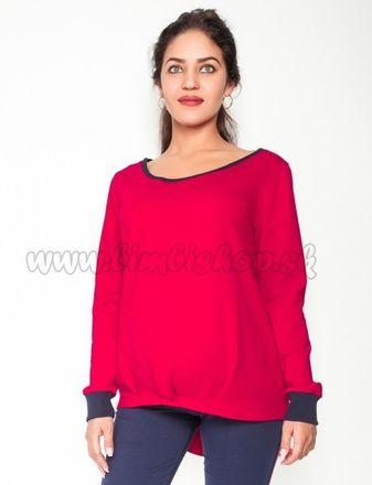 Tehotenské tričko/mikina dlhý rukáv Esti - červené, veľ. XL