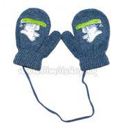 6e641a55ae26 Zimné dojčenske rukavičky vlnené - so šnúrkou a potlačou YO - grafit