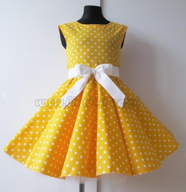 c41b1e39dae4 Detské RETRO šaty Bodky žltá 104-116 - Detské oblečenie