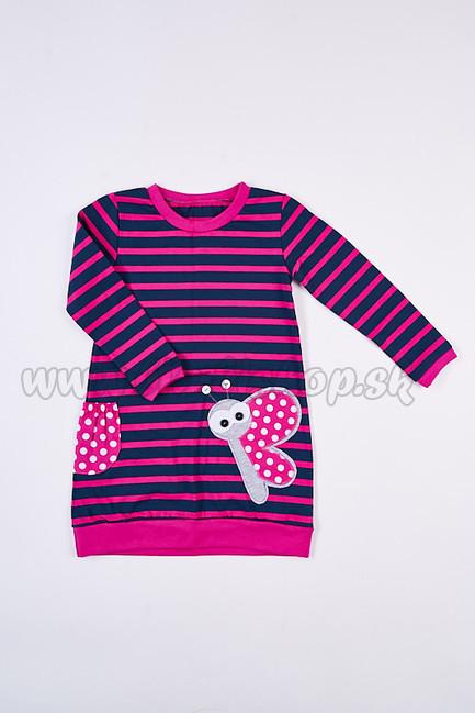 d0b187260 Skladom Detské šaty/tunika s dlhým rukávom Motýlik prúžok tm.modrá/tm.ružová