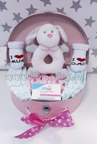 Skladom Plienková torta oblúk Baby Midi plienkový kufrík ružová