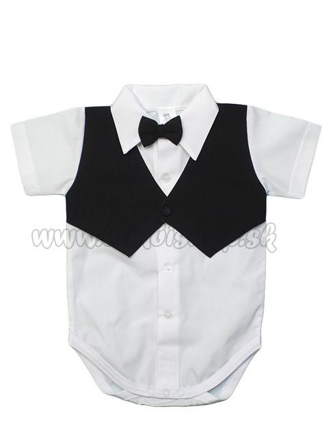 091d2fc88c58 Slávnostné body pre chlapca s krátkym rukávom vestička+motýlik čierna