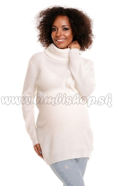 223133755338 Svetrík s rolákom POLY - biely veľ.UNI - Detské oblečenie