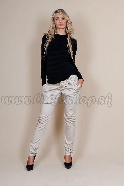 e18eb4df98fa Tehotenské nohavice s mašľou - Béžové