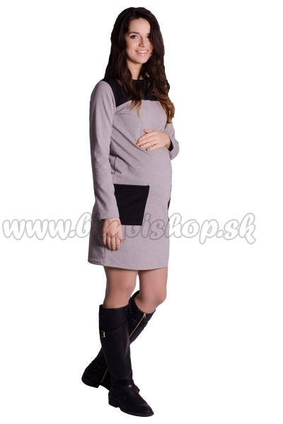 b0f644425bfc Skladom Tehotenské šaty   tunika - tm. sivý melír S M - Detské ...