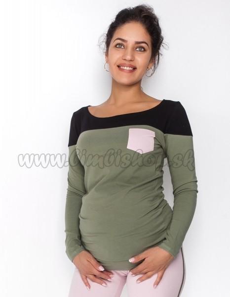 69035a8d73af Tehotenské tričko   blúzka dlhý rukáv Anna - khaki čierna - Detské ...