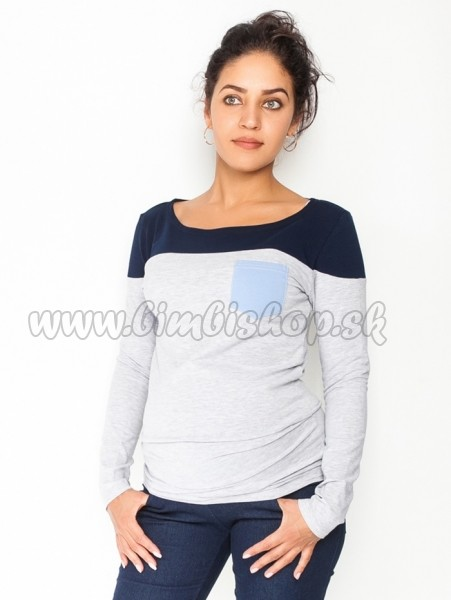 1e401a189f39 Tehotenské tričko   blúzka dlhý rukáv Anna - sivý melír granát ...