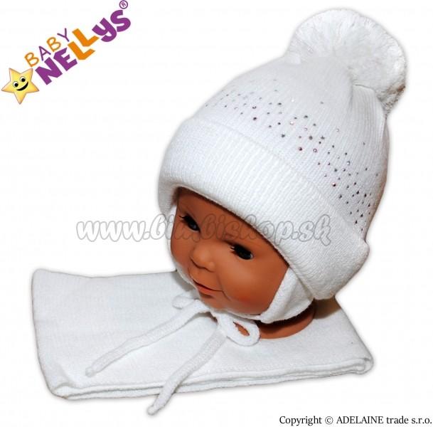 952bb6b0e Skladom Zimná čiapočka s brmbolcom a šálom - biela s kamienkami ...