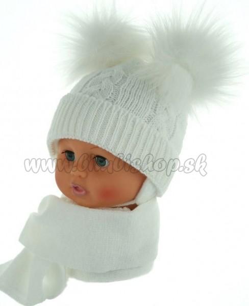 700fe1449 Zimná čiapočka s šálom - chlupáčkové bambuľky - biela - Detské ...