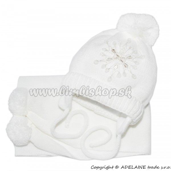 7c2a2a107016 Zimná čiapočka s šálom - Snehová vločka v bielej - Detské oblečenie ...