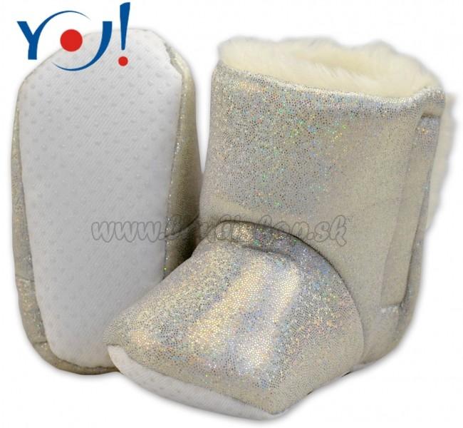 f5579490f16a Zimné topánky šľapky s kožušinou YO! -lesklé-bielé - Detské ...