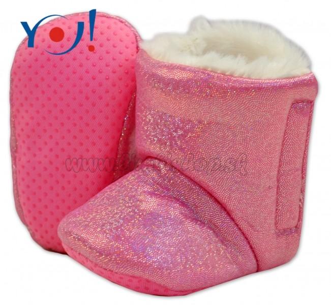5e373bcda10d Zimné topánky šľapky s kožušinou YO! -lesklé-ružové - Detské ...